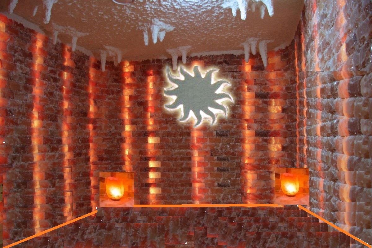 Галокамера, типовая стена из соли с малыми архитектурными формами